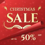 Christmas Sale Banner Template with Swirled Red Paper. Christmas Sale Banner Template. Swirled Red Paper with Snowflake Pattern. Xmas Festive Background for Sale Stock Images