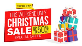 Christmas Sale Banner Template Vector. Xmas Big Sale Offer. For Xmas Banner, Brochure, Poster, Discount Offer Stock Photography
