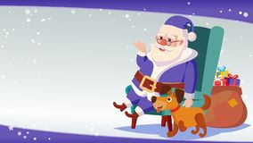 Big Christmas Sale Banner Template With Happy Santa Claus Vector. Sale Background Illustration. For Web, Flyer, Xmas Royalty Free Stock Photography