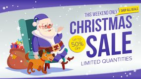 Christmas Sale Banner Vector. Cute Santa Claus. Cartoon Business Brochure Illustration. Template Design For Xmas Banner Royalty Free Stock Image