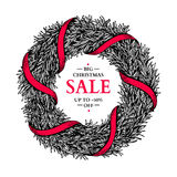 Christmas sale banner. Vector hand drawn illustration with wreat Stock Images