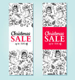 Christmas sale banner. Vector hand drawn illustration. Xmas plan Stock Photos