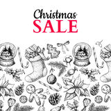 Christmas sale banner. Vector hand drawn illustration. Xmas plants and symbols. Royalty Free Stock Photo