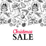 Christmas sale banner. Vector hand drawn illustration. Xmas plants and symbols. Stock Photography