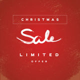 Christmas sale banner vector illustration with watercolor handwritten typography and grunge, vintage, worn, old style. Stock Photos