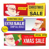 Christmas Sale Banner Vector. Merry Christmas Santa Claus. Discount Tag, Special Xmas Offer Horizontal Banners. Winter Stock Images
