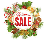 Christmas sale banner. Vector Christmas sale banner with traditional decoration, Christmas tree branches and sweets. Design for any kind of products. Best for Stock Photography