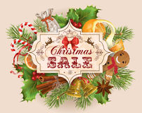 Christmas sale banner. Vector Christmas sale banner with traditional decoration, Christmas tree branches and sweets. Design for any kind of products. Best for Royalty Free Stock Image