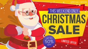 Christmas Sale Banner Vector. Xmas Santa Claus. Big Sale Offer. Cartoon Business Brochure Illustration. Design For Xmas Royalty Free Stock Photography