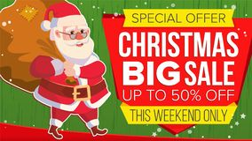 Christmas Sale Banner With Santa Claus Vector. Discount Up To 50 Off. Marketing Advertising Design Illustration. Design Stock Images