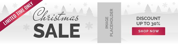 Christmas sale banner. White background, snowflakes, trees, image placeholder. Christmas Sale horizontal Ad banner white background, snowflakes, trees, image Stock Photos