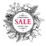 Christmas sale banner wreath. Vector hand drawn illustration wit Stock Photography