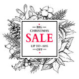 Christmas sale banner wreath. Vector hand drawn illustration wit Royalty Free Stock Image