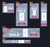 Christmas sale banners set. Blue background, snowflakes, trees, image placeholder. Christmas sale banners set contains popular ad banners dimensions. Vertical Royalty Free Stock Images
