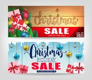 Christmas Sale Banners Set with Different Designs and Wooden Background. Promotional Design For Holiday Season. Vector illustration royalty free illustration
