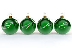 Christmas Sale Baubles. The words Sale spelt accross four green baubles Royalty Free Stock Photo