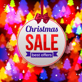 Christmas Sale Best offers paper banner on shining Stock Image