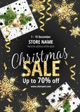 The Christmas sale. Black banner for web or flyer.