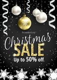 The Christmas sale. Black banner for web or flyer. The Christmas sale. Discounts up to 50 percent. Banner for website or advertising flyer. Realistic vector Stock Photo