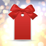 Christmas Sale blank Tag with realistic bow isolated on white background. Vector Stock Photo