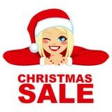 Christmas Sale Blonde Woman Stock Photos