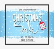 Christmas sale on a blue background. Brush stroke.Vector banner. Christmas sale on a blue background. Brush stroke.Vector banner Royalty Free Stock Image