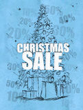 Christmas sale blue background. Discount sales Royalty Free Stock Photos