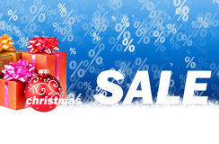 Christmas sale blue background Stock Photography