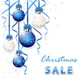 Christmas sale with blue balls Stock Photos