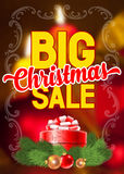 Christmas sale. Bright advertising poster Big Christmas sale on blurred background with festive decorated gift box and spruce branches Royalty Free Stock Photography