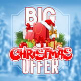 Christmas sale. Bright advertising poster Big Christmas sale and offer on snowbound blurred winter background with festive decorated gift boxes and shopping bags Stock Photo