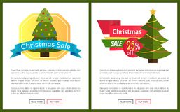 Christmas Sale Buy Now Posters Vector Illustration. Of promotion cards with text sample, New Year trees with cute toys, push-buttons, blue ribbons Stock Images