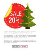 Christmas Sale Buy Now Posters Vector Illustration. Of promotion cards with text sample, New Year trees with cute toys, push-buttons Stock Image
