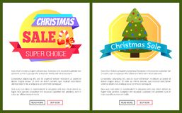 Christmas Sale Buy Now Posters Vector Illustration. Of promotion cards with text sample, New Year trees with cute toys, push-buttons, blue ribbons Stock Photo