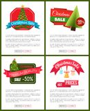 Christmas Sale Buy Now Posters Vector Illustration. Of promotion cards with text sample, New Year trees with cute toys, push-buttons, blue ribbons Stock Image