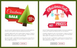 Christmas Sale Buy Now Posters Vector Illustration. Of two promotion cards with text sample, New Year trees with cute toys, push-buttons Stock Images