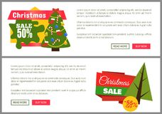 Christmas Sale Buy Now Posters Vector Illustration. Of two promotion cards with text sample, New Year trees with cute toys, push-buttons Stock Photography