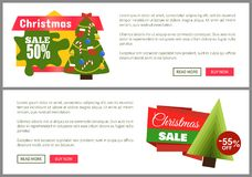Christmas Sale Buy Now Posters Vector Illustration. Of two promotion cards with text sample, New Year trees with cute toys, push-buttons Royalty Free Stock Image