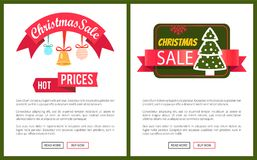 Christmas Sale Buy Now Posters Vector Illustration. Of two promotion cards with text sample, New Year trees with cute toys, push-buttons Stock Photo