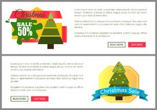 Christmas Sale Buy Now Posters Vector Illustration. Of two promotion cards with text sample, New Year trees with cute toys, push-buttons, blue ribbons Royalty Free Stock Photography