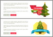 Christmas Sale Buy Now Posters Vector Illustration. Of two promotion cards with text sample, New Year trees with cute toys, push-buttons, blue ribbons Stock Images