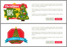 Christmas Sale Buy Now Posters Vector Illustration. Of two promotion cards with text sample, New Year trees with cute toys, push-buttons, blue ribbons Stock Image