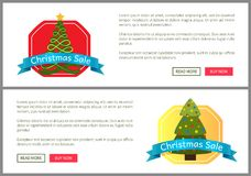 Christmas Sale Buy Now Posters Vector Illustration. Of two promotion cards with text sample, New Year trees with cute toys, push-buttons, blue ribbons Royalty Free Stock Photos