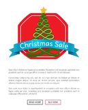 Christmas Sale Buy Now Posters Vector Illustration. Of promotion cards with text sample, New Year trees with cute toys, push-buttons, blue ribbons Royalty Free Stock Photos