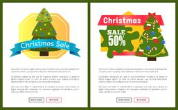 Christmas Sale Buy Now Posters Vector Illustration. Of two promotion cards with text sample, New Year trees with cute toys, push-buttons Royalty Free Stock Images