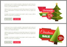 Christmas Sale Buy Now Posters Vector Illustration. Of two promotion cards with text sample, New Year trees with cute toys, push-buttons Royalty Free Stock Photo