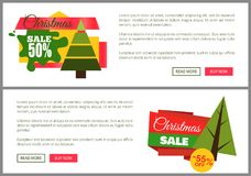 Christmas Sale Buy Now Posters Vector Illustration. Of two promotion cards with text sample, New Year trees with cute toys, push-buttons Stock Image