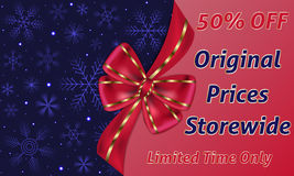 Christmas sale card decorated with big red bow, dark blue background with snowflakes and red background for text Royalty Free Stock Photos