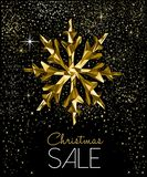 Christmas sale card with luxury gold decoration vector illustration