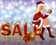 Christmas sale card with Santa girl Royalty Free Stock Image